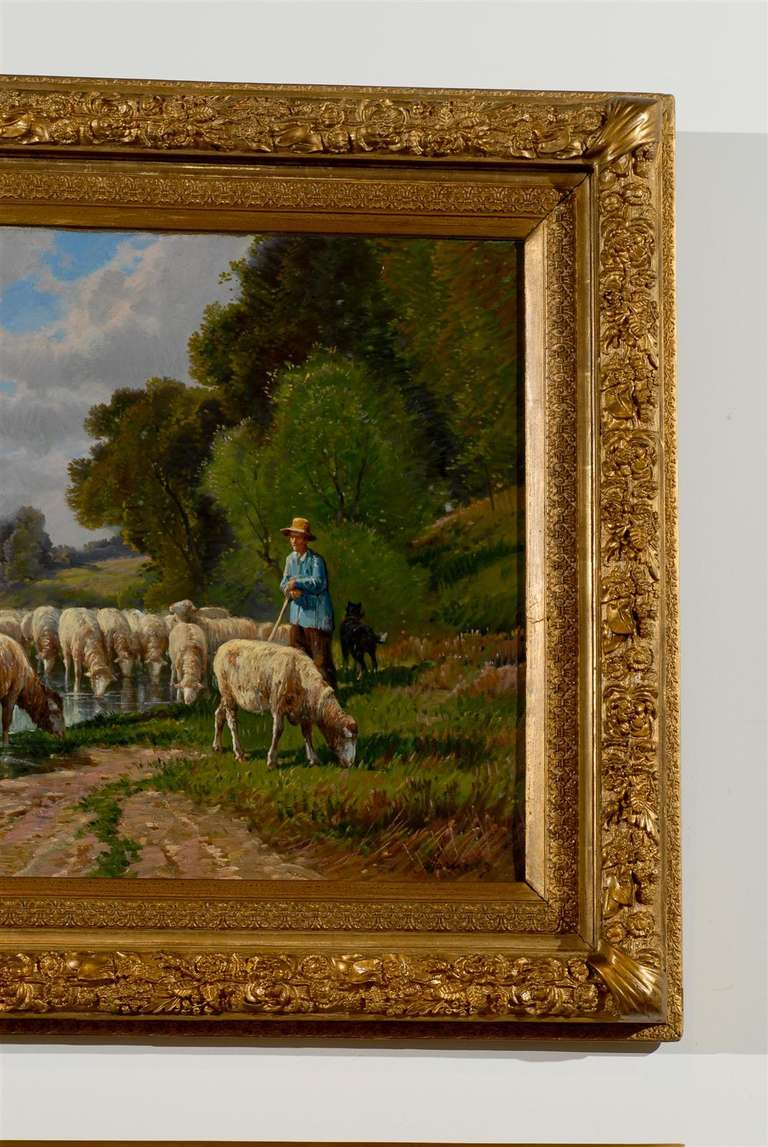 French Barbizon Painting of a Shepherd with His Herd of Sheep, Late 19th Century For Sale 3