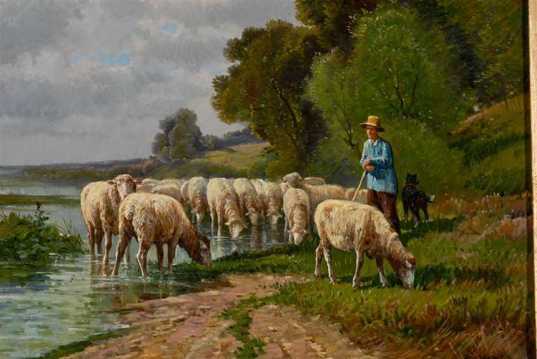 French Barbizon Painting of a Shepherd with His Herd of Sheep, Late 19th Century For Sale 1