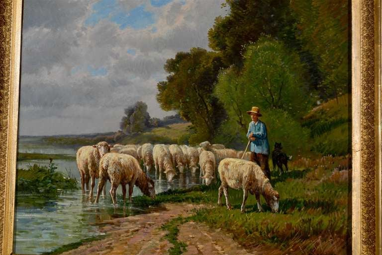 Hand-Painted French Barbizon Painting of a Shepherd with His Herd of Sheep, Late 19th Century For Sale