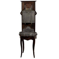 French Restauration, 1830s, Pewter Two-Part Lavabo Mounted on Walnut Stand