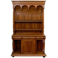 French Renaissance Revival Carved Walnut Vaisselier from the Early 19th Century