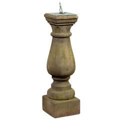 English 1860s Baluster-Shaped Sandstone Sundial with Verdigris Bronze Dial