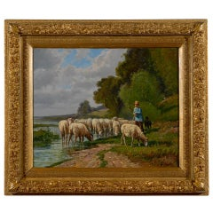 French Barbizon Painting of a Shepherd with His Herd of Sheep, Late 19th Century