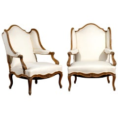 Pair of Louis XV Period French Walnut Confessional Bergère Chairs, circa 1750