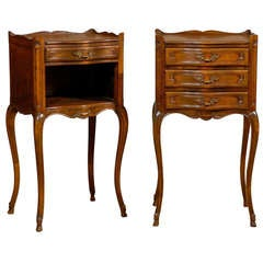 Pair of French Louis XV Style Walnut Bedside Tables with Drawers and Open Shelf