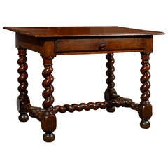 17th Century French Walnut Side Table with Single Drawer and Barley-Twist Base