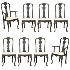 Set of Eight Swedish Rococo Revival Dining Chairs with Carved Splats, circa 1860