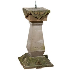 English Late 19th Century Sundial with Carved Limestone and Bronze Top
