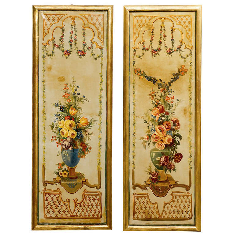 French Napoleon III Period Painted Decorative Panels with Bouquets, circa 1860