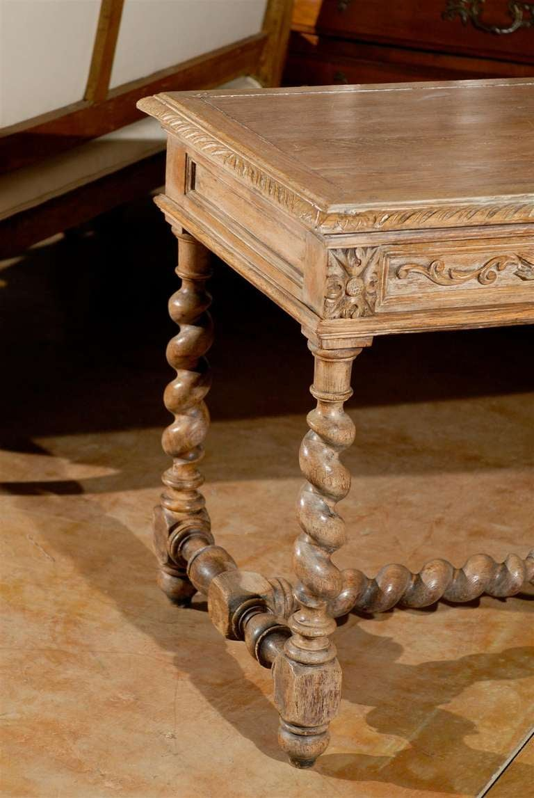 French Louis Xiii Style 1880s Table With Two Drawers And