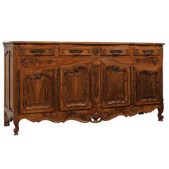 French Louis XV Style Walnut Enfilade with Four Doors and Drawers Parquetry Top