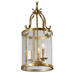 French Louis XVI Style Three-Light Bronze and Glass Lantern, circa 1850