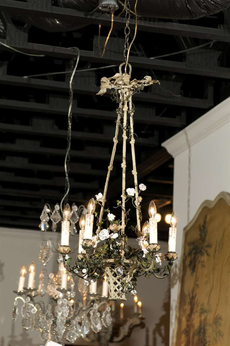 French Rococo Style Six-Light Bronze Basket Chandelier with Porcelain Flowers For Sale 4