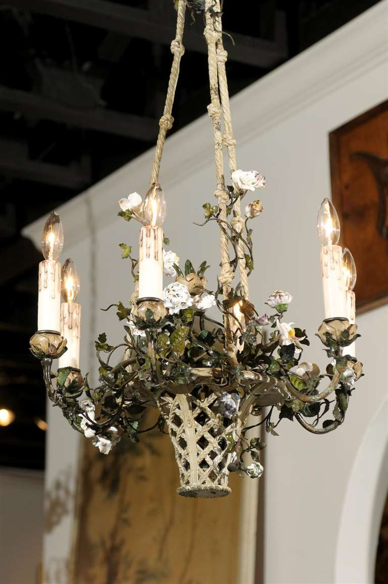 French Rococo Style Six-Light Bronze Basket Chandelier with Porcelain Flowers For Sale 5