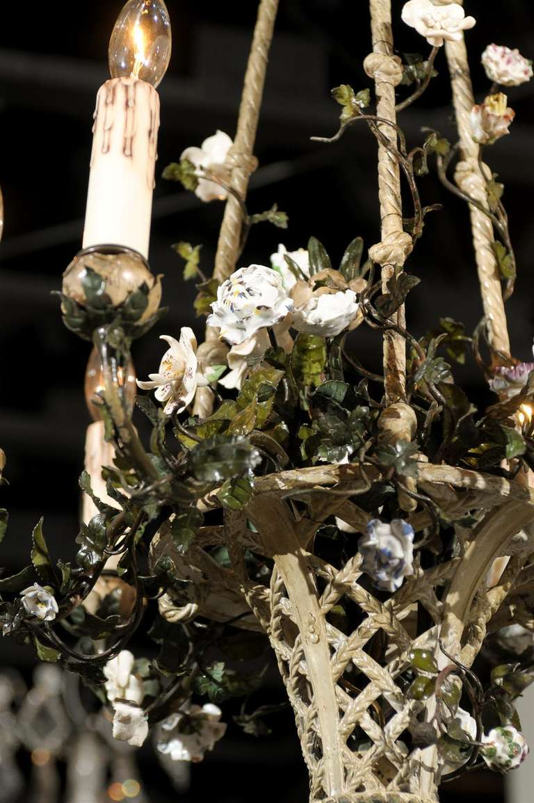French Rococo Style Six-Light Bronze Basket Chandelier with Porcelain Flowers For Sale 1