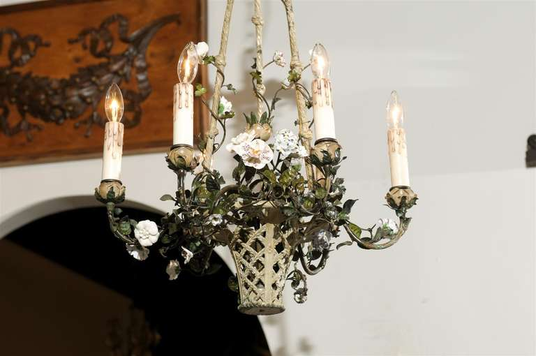Hand-Painted French Rococo Style Six-Light Bronze Basket Chandelier with Porcelain Flowers For Sale