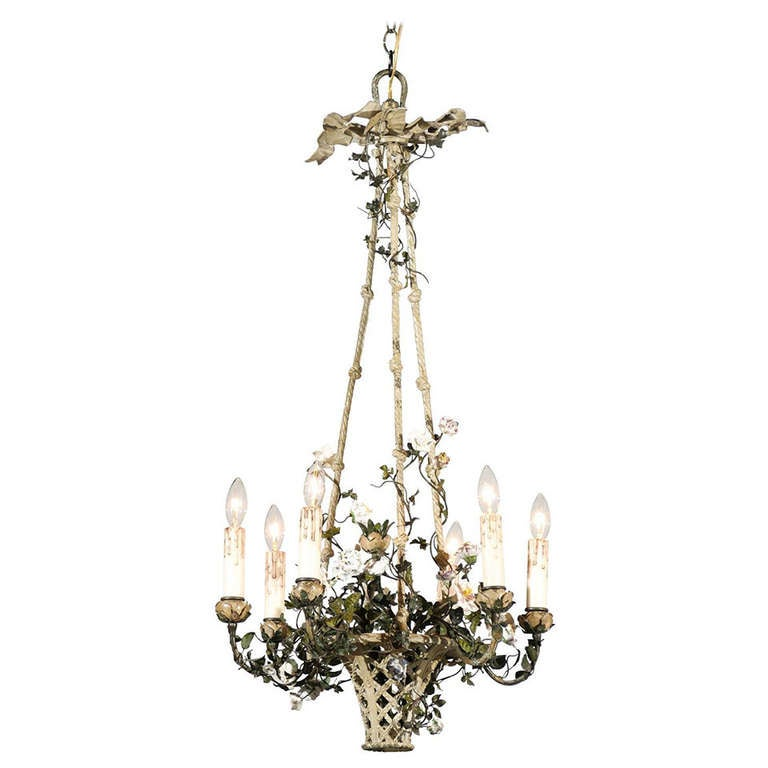 French Rococo Style Six-Light Bronze Basket Chandelier with Porcelain Flowers For Sale