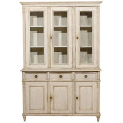 Swedish Neoclassical Style Cupboard from the Late 20th Century with Glass Doors