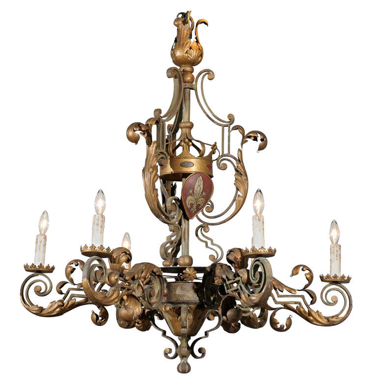 French 1880s Louis XV Style Painted Iron Six-Light Chandelier with Crown Motif