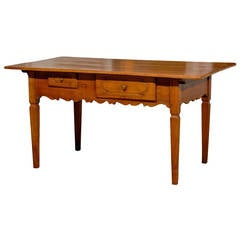 French 1890s Fruitwood Two-Drawer Table with Scalloped Apron and Tapered Legs