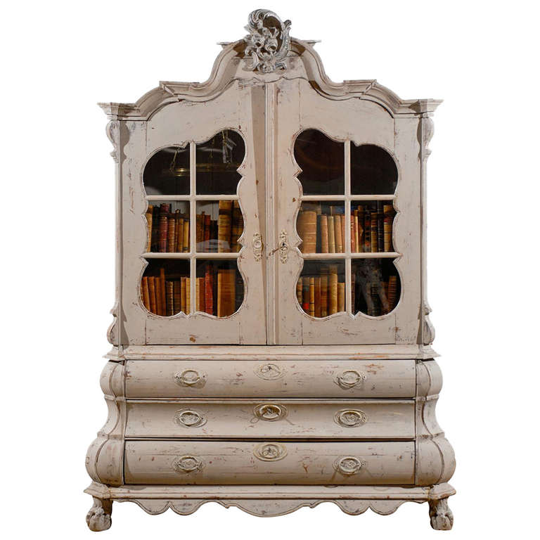 Dutch 1850s Rococo Revival Painted Cabinet with Glass Doors and Bombé Drawers