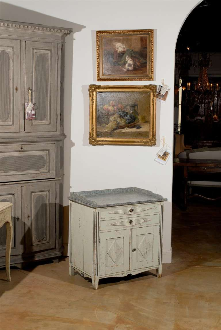 Swedish 1890s Gustavian Style Painted Wood Buffet with Two Drawers and Two Doors In Good Condition For Sale In Atlanta, GA