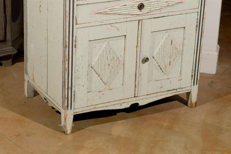 19th Century Swedish 1890s Gustavian Style Painted Wood Buffet with Two Drawers and Two Doors For Sale