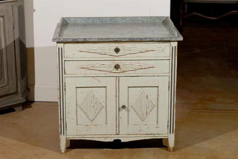 Swedish 1890s Gustavian Style Painted Wood Buffet with Two Drawers and Two Doors For Sale 4