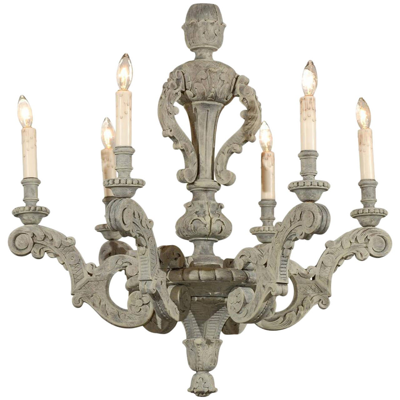 French 19th Century Six-Light Grey Painted Wooden Chandelier with Carved Decor