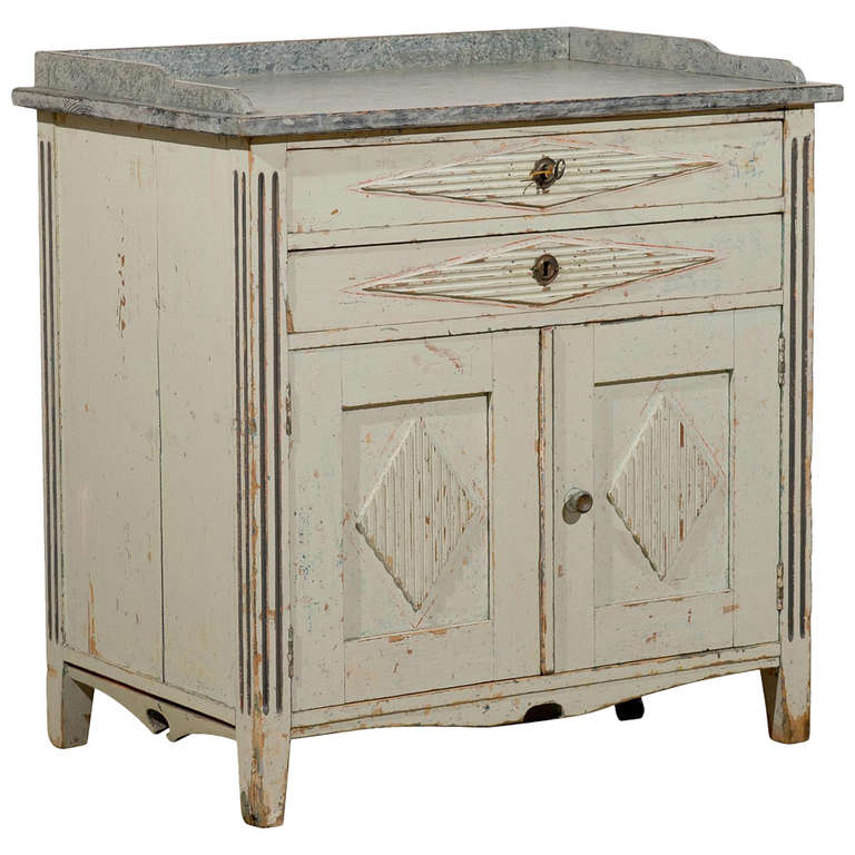 Swedish 1890s Gustavian Style Painted Wood Buffet with Two Drawers and Two Doors For Sale