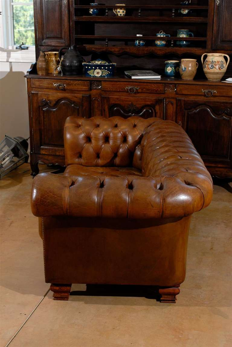 French Old Leather Tufted Chesterfield Sofa With Nailhead Trim, Circa 1890  In Distressed Condition For