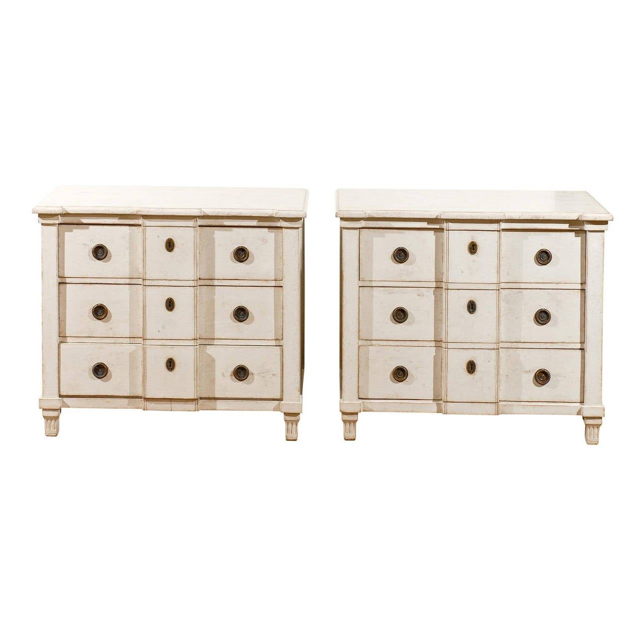 Pair of Swedish 1880s Painted Wood Breakfront Three-Drawer Bedside Commodes
