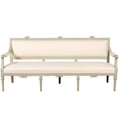 Neoclassical Revival Swedish Painted and Carved Upholstered Bench, circa 1890