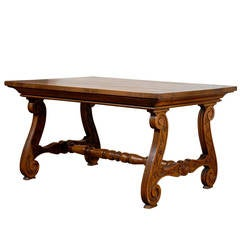 Northern Italian Fratino Walnut Desk with Lyre-Shaped Legs from the 1890s