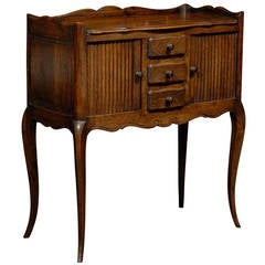 French Oak Table De Chevet with Sliding-Door Cabinets and Three Drawers, 1890s