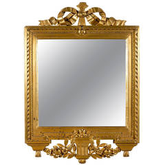 Swedish Gustavian Period Giltwood Mirror, circa 1780 with Ribbon-Carved Crest