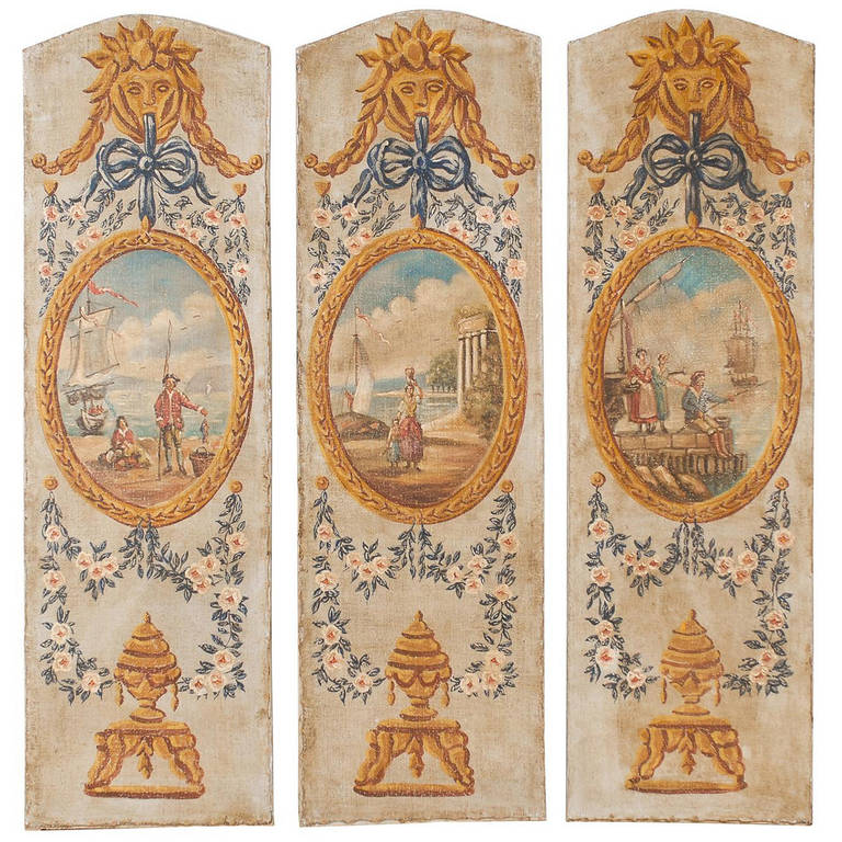 Set of Three French Vertical Oil on Canvas Louis XVI Style Decorative Panels