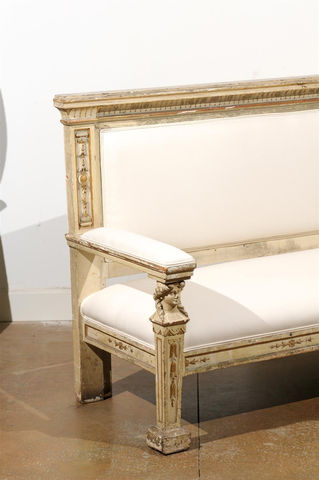 Neoclassical 1820s, Tuscan Upholstered Wooden Bench with Classical Figures For Sale 1