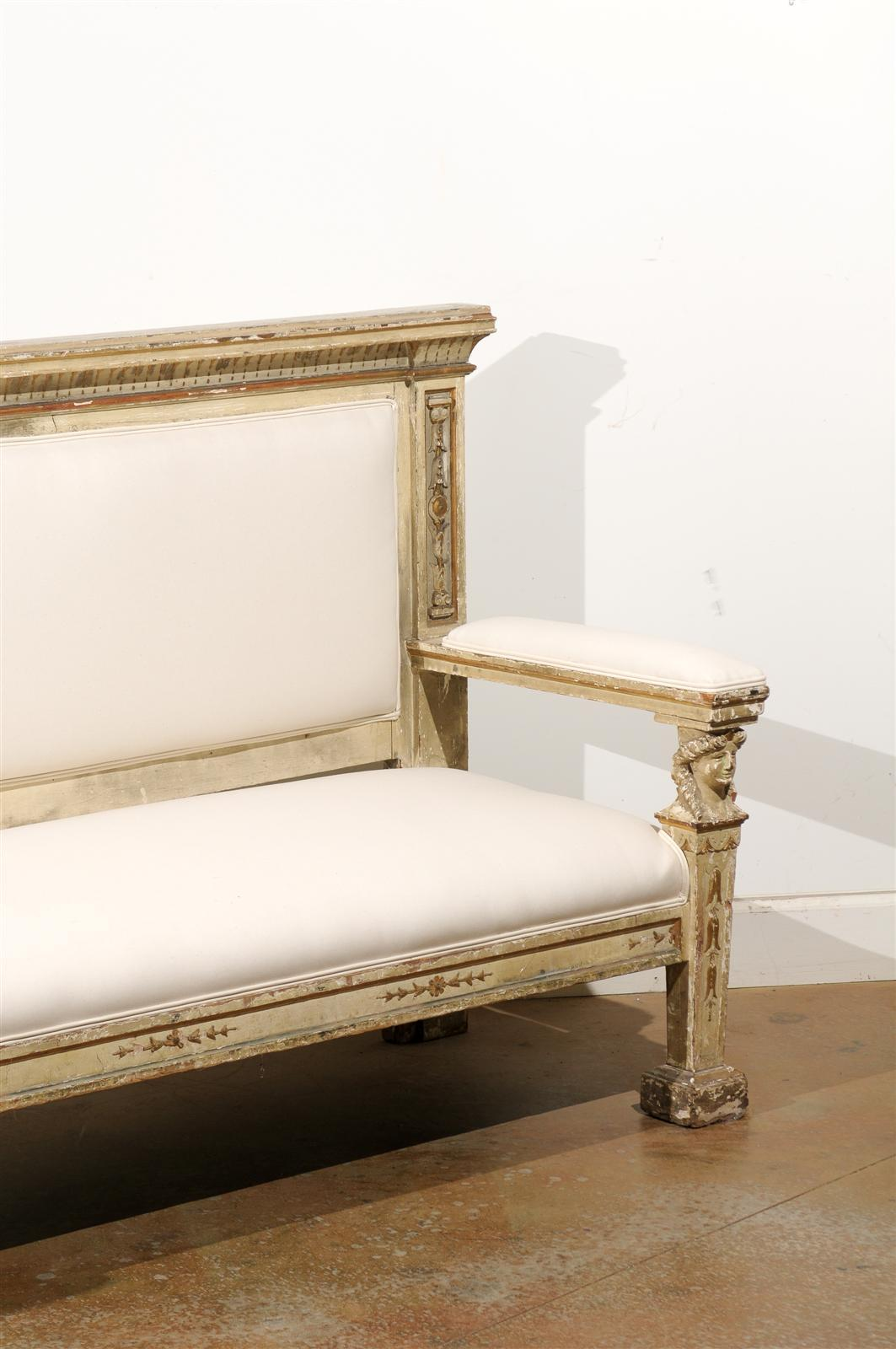 Neoclassical 1820s, Tuscan Upholstered Wooden Bench with Classical Figures For Sale 2