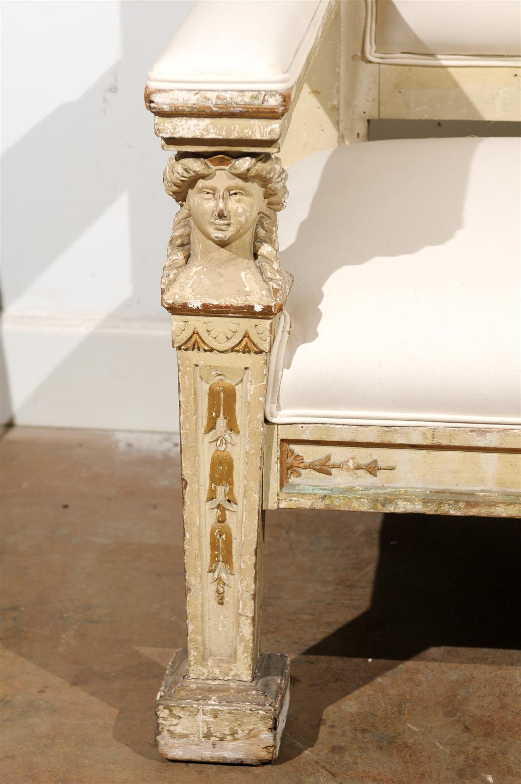 Neoclassical 1820s, Tuscan Upholstered Wooden Bench with Classical Figures For Sale 3