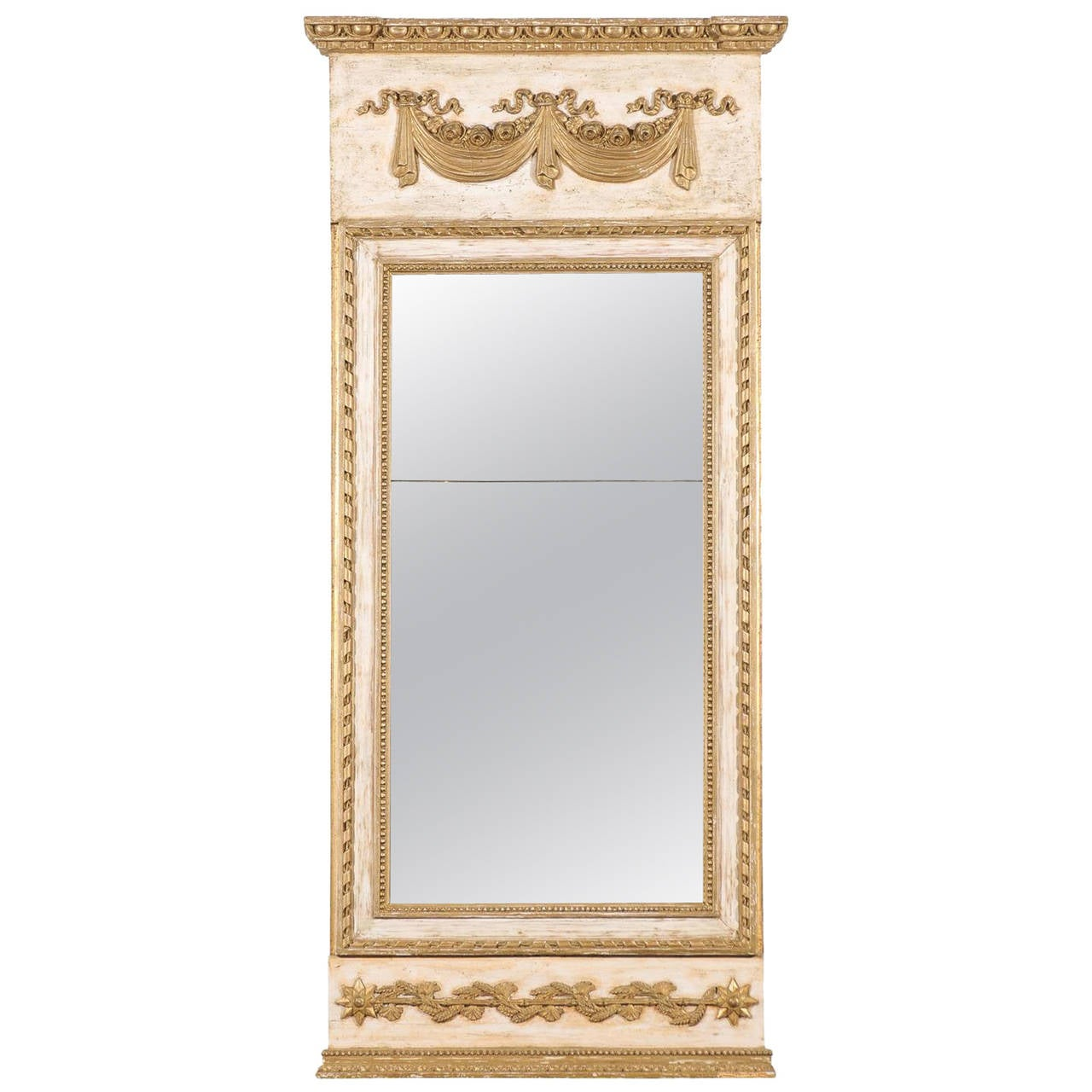 Late 18th Century Swedish Gustavian Period Trumeau Mirror with Swag and Roses