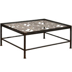 Iron Rectangular Coffee Table Made of French 1850s Painted Ironwork Balcony