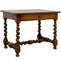 French Louis XIII Style Walnut Side Table with Barley Twist Base and Stretcher