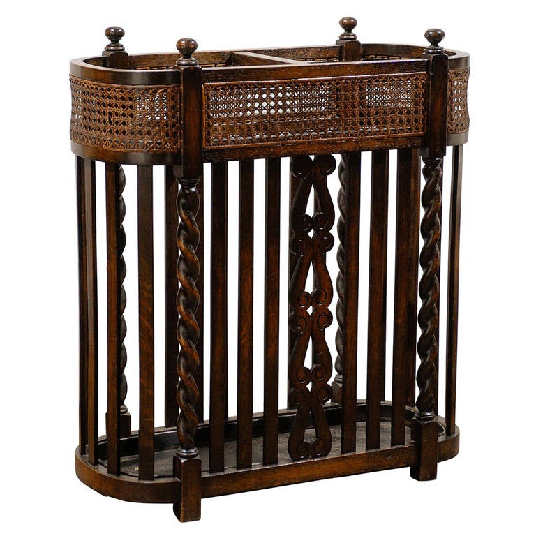 Wood and cane umbrella stand for sale at stdibs