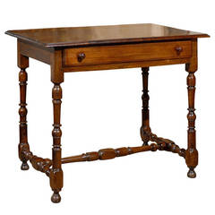French Walnut Side Table with Spindle-Shaped Legs and Cross Stretcher