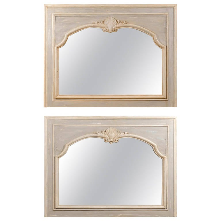 Pair of French Louis XV Style 1890s Painted Wood Horizontal Shell-Carved Mirrors