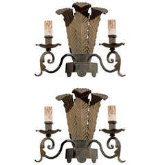Pair of French Tôle Two-Light Sconces with Ostrich Plume Motifs, circa 1890
