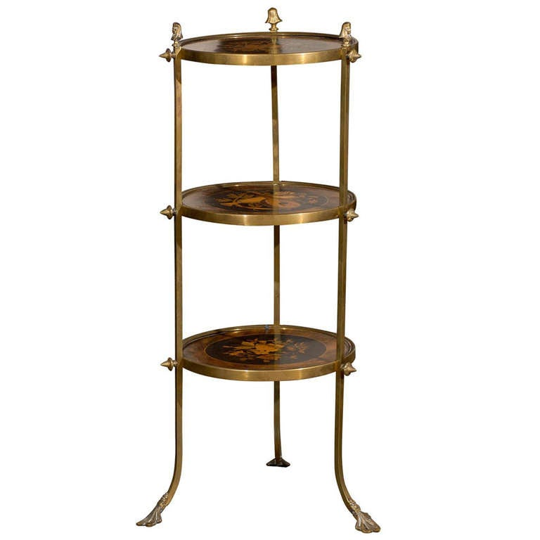 French Brass and Marquetry Three-Tiered Étagère with Floral Motifs, circa 1870