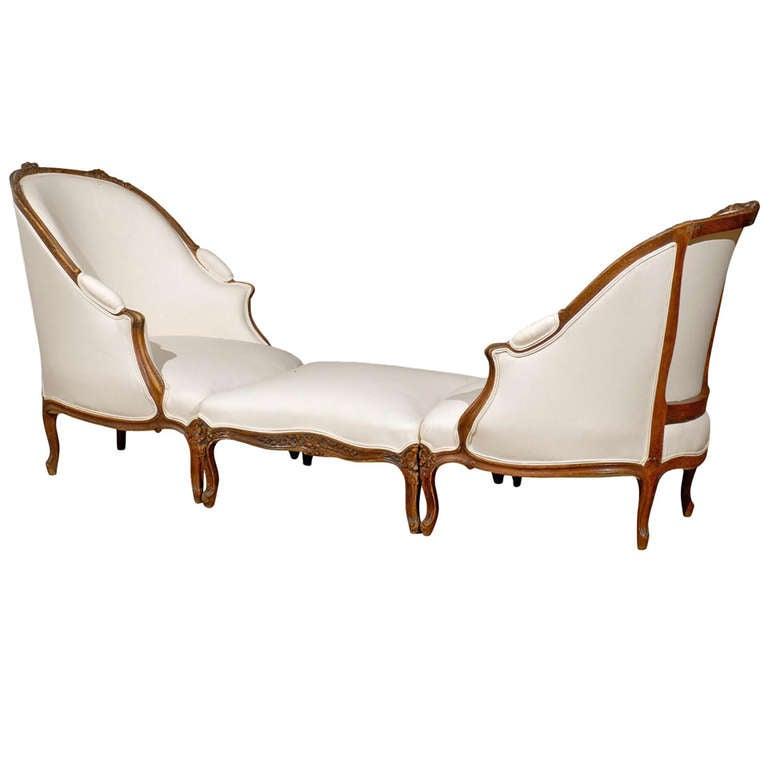 French Louis XV Style Walnut Duchesse Brisée, circa 1880 with New Upholstery