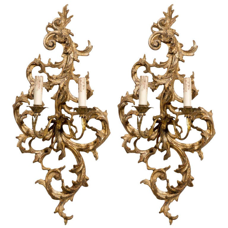 French Rococo Revival giltwood sconces, ca. 1850, offered by Jacqueline Adams Antiques